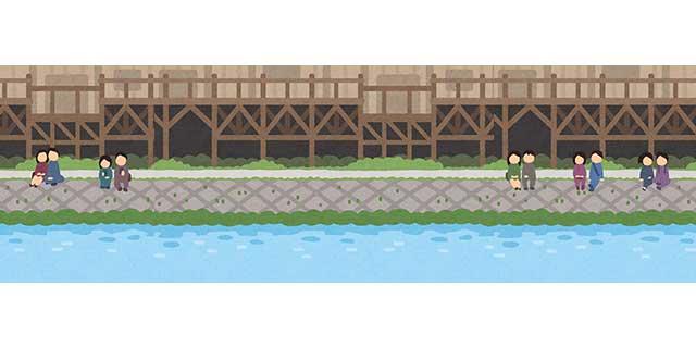 京都の鴨川の風景