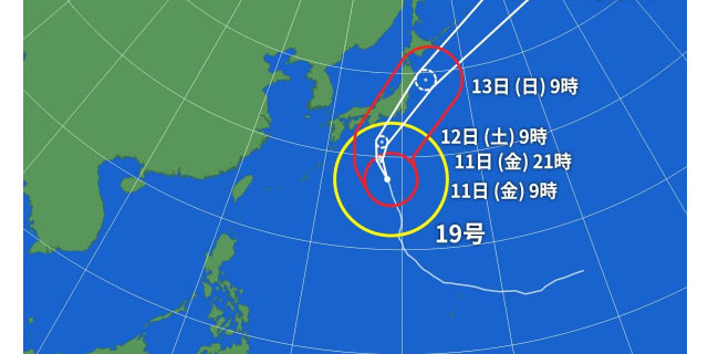 2019年台風19号の進路