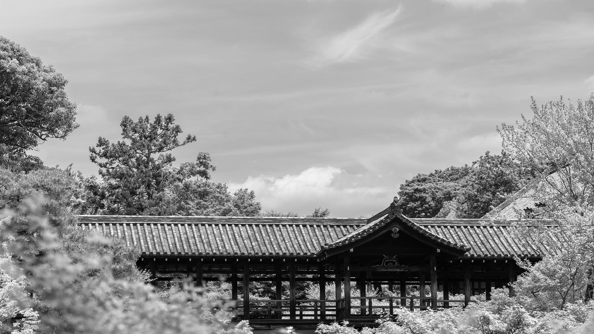 東福寺の臥雲橋からの眺めのモノクロ画像
