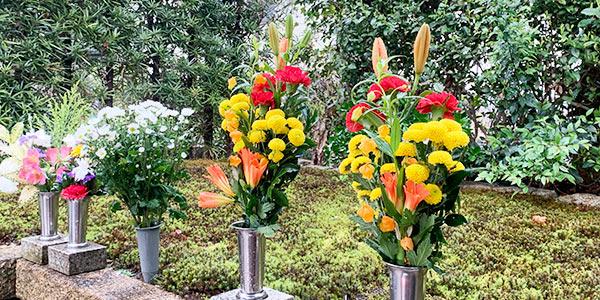 両足院の墓参時のお花の風景