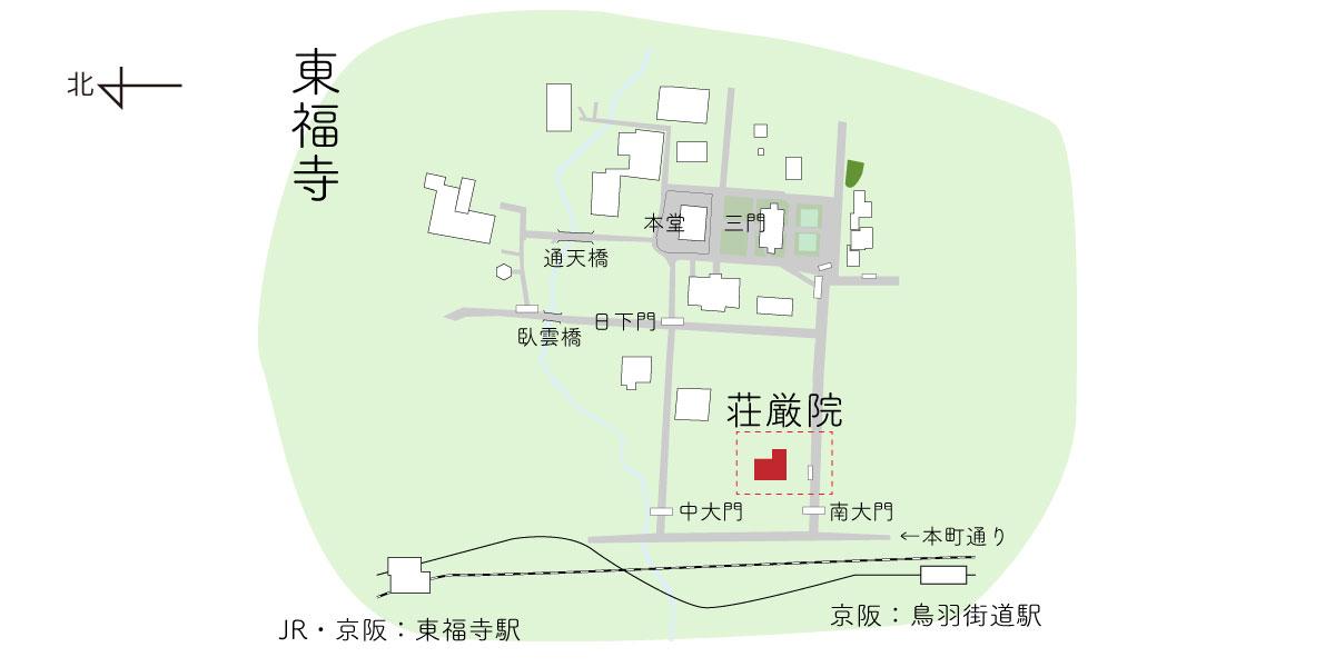 東福寺の荘厳院までの境内図